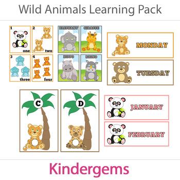 Wild Animals Learning Bundle Instant Download PDF; Preschool, Kindergarten