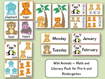 Wild Animals - Math and Literacy Pack for Pre-k and Kindergarten