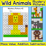 Wild Animals 100s Chart Mystery Pictures - Place Value, Addition & Subtraction