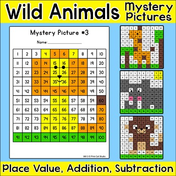 Wild Animals Hundreds Chart Mystery Pictures - Differentia