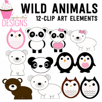 Wild Animals Penguin and Friends  Digital Clip Art Set
