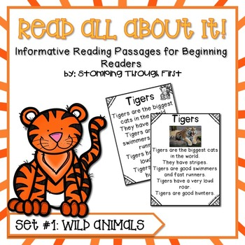 Wild Animals Reading Interest Pack for Beginning Readers