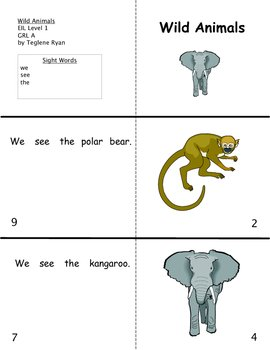 Wild Animals: Reproducible Guided Reading Book Level A