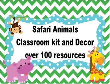 Wild Animals Safari Classroom Kit and Decor  FREEBIE