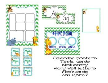 Wild Animals Safari Classroom Kit and Decor ( Green Chevron and Blue Poka-dots)