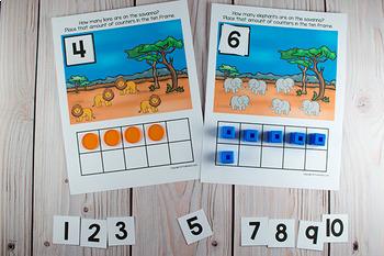 Wild Animals Ten Frame Game  (Pre-K + K Math) Safari