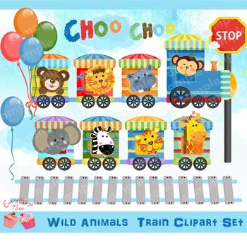 Wild Animals Train Clipart Set