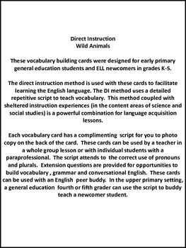 ESL Vocabulary/Conversation Cards-Wild Animals for Primary and ELL Newcomers