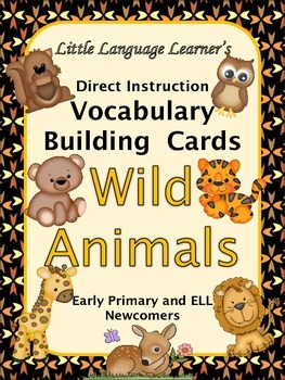 ESL Vocabulary/Conversation Cards-Wild Animals for Primary
