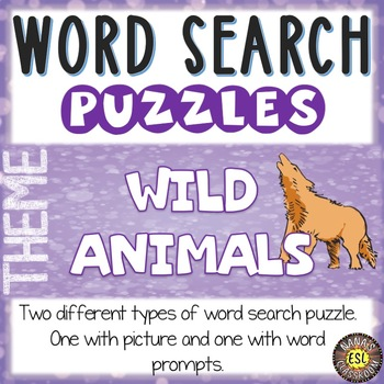 Wild Animals Word Search Puzzle