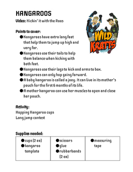Wild Animals with Wild Kratts - Lesson Plans