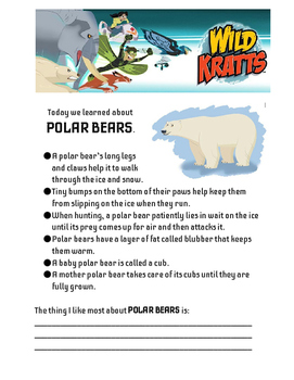 Wild Animals with Wild Kratts - Student Pages
