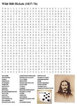 Wild Bill Hickok Word Search