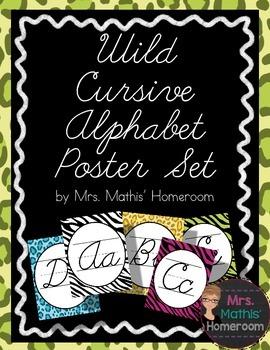 Wild Animal Print Cursive Alphabet Posters (Alphabet Line)
