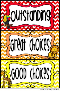 Wild Animals Theme Classroom Behavior Clip Up Chart