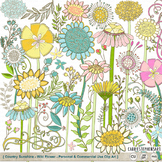 WildFlower ClipArt, Country Sunshine Flower Clip Art, Leaves, Foliage Graphics