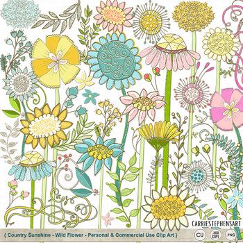 WildFlower ClipArt, Country Sunshine Flower Clip Art, Leav