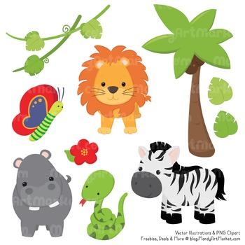 Wild Friends Cute Jungle Animals Clipart & Vectors