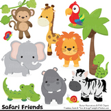 Wild Friends Cute Jungle Animals Clipart & Vectors