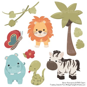 Wild Friends Cute Vintage Jungle Animals Clipart & Vectors