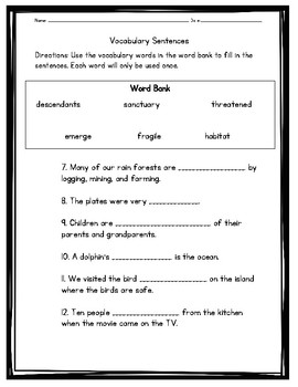 Wild Horses Vocabulary Test