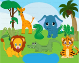 Wild Jungle school teacher Clip Art animal elephant lion tiger zoo animals -065-