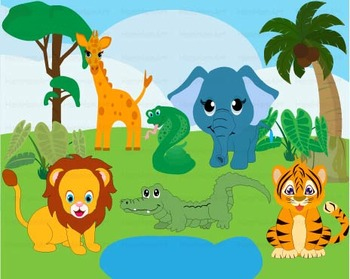 Wild Jungle school teacher Clip Art animal elephant lion t