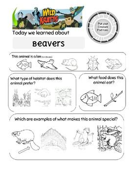 Wild Kratts Build It Beaver Worksheet