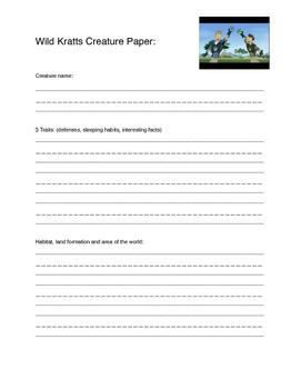 Wild Kratts Creature Paper Basic