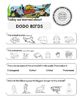 Wild Kratts Day of the Dodo Worksheet