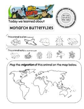 Wild Kratts Monarch Butterfly Worksheet