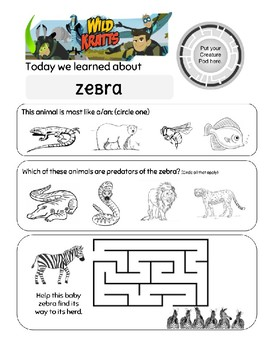 Wild Kratts Zig Zagged Zebra Worksheet
