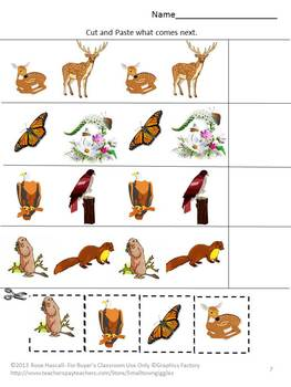 Animals Wild Life Cut and Paste Math & Literacy Special Education Kindergarten
