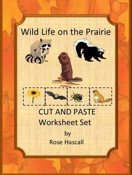 Animals Wild Life Cut and Paste NO PREP Math & Literacy Pr