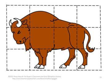 Animal Cut and Paste Life on the Prairie puzzles,Fine Motor Skills,Math Centers