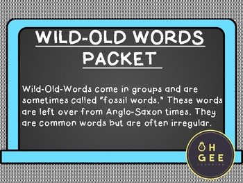 Wild Old Words Packet- Orton Gillingham