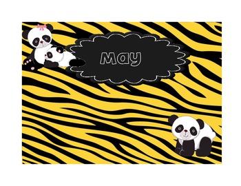 Wild Pandas Animal Print Birthday Chart