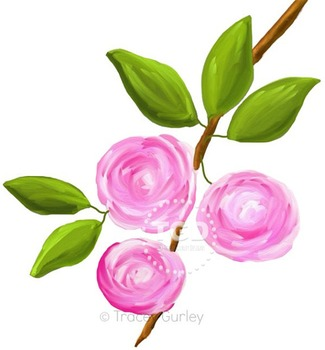 Wild Pink Roses - pink rose clip art, pink rose Printable Tracey Gurley Designs