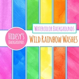 Wild Rainbow Washes - Handpainted Watercolor Bright Backgr