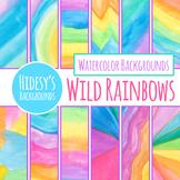 Wild Rainbow Watercolor Handpainted Background / Digital P