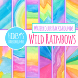 Wild Rainbow Watercolor Handpainted Background / Digital P