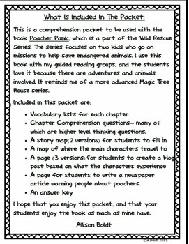 Wild Rescue: Poacher Panic Reading Packet