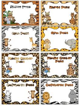 EDITABLE Wild Safari Classroom Passes