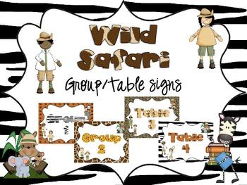 Wild Safari Group/Table Signs