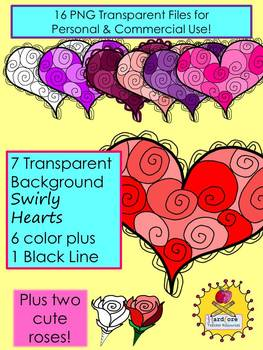 Wild Swirly Heart Clip Art {Valentine's Day} {Personal & Commercial Use}