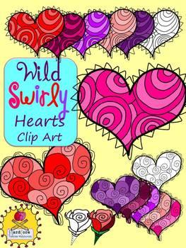 Wild Swirly Heart Clip Art {Valentine's Day} {Personal & C
