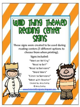 Wild Thing Reading Center Cards