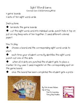 Wild Thing Sight Word Game Kindergarten