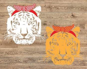 Wild Tiger Head bandana SVG football baseball basketball volleyball Tigers 1218S