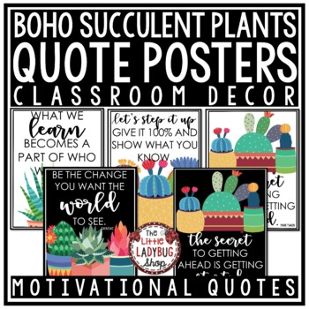 Inspirational Quotes Boho Cactus Theme Classroom Decor